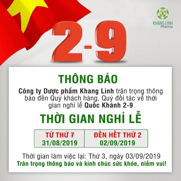 Dược Khang Linh Pharma thông báo Lịch nghỉ lễ Quốc Khánh 02/9/2019